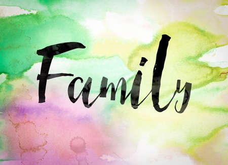descendant: The word Family written in black paint on a colorful watercolor washed background.