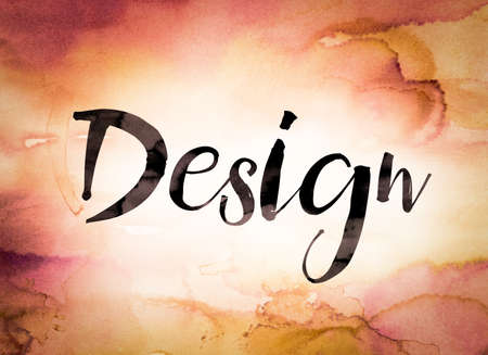 The word Design written in black paint on a colorful watercolor washed background.