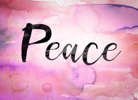 ceasefire: The word Peace written in black paint on a colorful watercolor washed background. Stock Photo