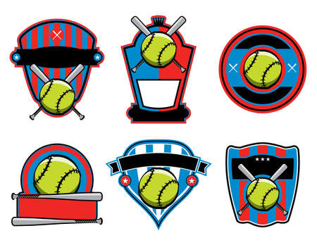 fast pitch: A set of softball and bat emblems, badges, and patches. Vector EPS 10 available.
