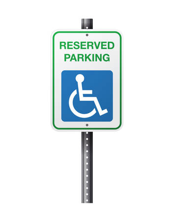 An illustration of a handicap reserve parking sign and symbol on a white background. Vector EPS 10 available.