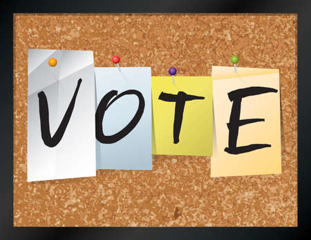 ballot papers: An illustration of the word VOTE written on pieces of colored paper pinned to a cork bulletin board. Vector EPS 10 available.