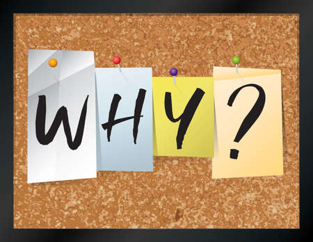 pinned: An illustration of the word WHY? written on pieces of colored paper pinned to a cork bulletin board. Vector EPS 10 available. Illustration