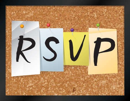 An illustration of the word RSVP written on pieces of colored paper pinned to a cork bulletin board. Vector EPS 10 available. Illustration