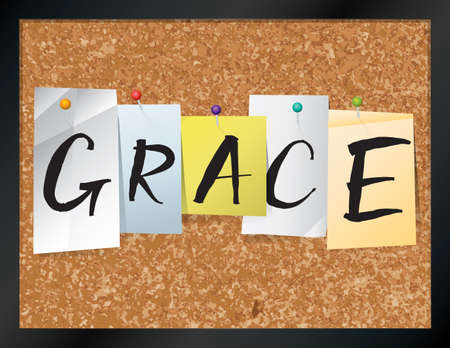 An illustration of the word GRACE written on pieces of colored paper pinned to a cork bulletin board. Vector EPS 10 available. Ilustração