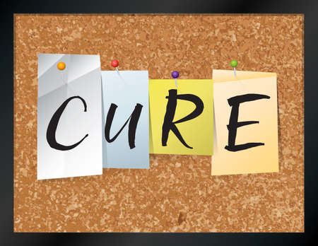 flu shot: An illustration of the word CURE written on pieces of colored paper pinned to a cork bulletin board. Vector EPS 10 available. Illustration