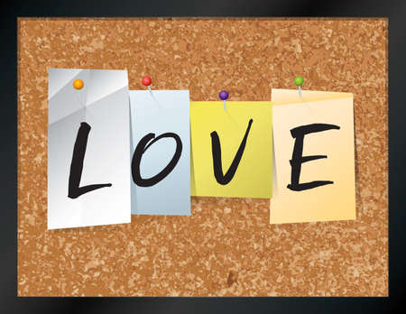 An illustration of the word LOVE written on pieces of colored paper pinned to a cork bulletin board. Vector EPS 10 available. Illustration