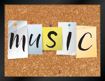 bulletin: An illustration of the word MUSIC written on pieces of colored paper pinned to a cork bulletin board. Vector EPS 10 available.