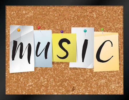 """letras musicales: Una ilustración de la palabra """"MUSIC"""", escrito en hojas de papel de colores clavado en un tablón de corcho. Vectoriales EPS 10 disponible."""