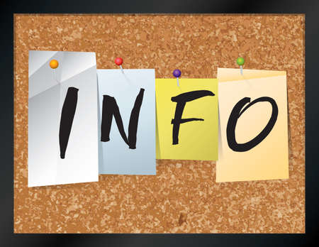 briefing: An illustration of the word INFO written on pieces of colored paper pinned to a cork bulletin board. Vector EPS 10 available.