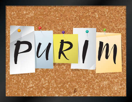 An illustration of the word PURIM written on pieces of colored paper pinned to a cork bulletin board. Vector EPS 10 available.