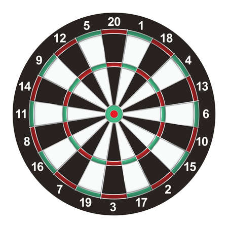 A realistic dart board isolated on a white background illustration. Vector EPS available. Reklamní fotografie - 56438060