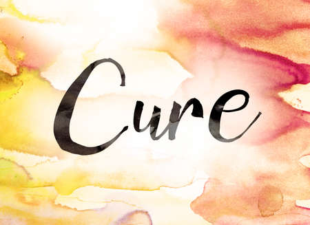 holistic health: The word Cure written in black paint on a colorful watercolor washed background. Stock Photo