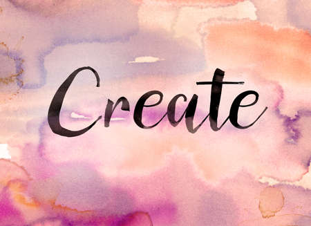 The word Create written in black paint on a colorful watercolor washed background.