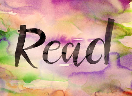 recite: The word Read written in black paint on a colorful watercolor washed background.