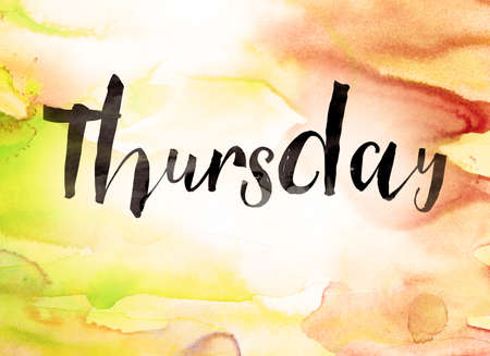 The word Thursday written in black paint on a colorful watercolor washed background.