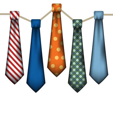 neck ties: A set of mens neck ties on a white background.