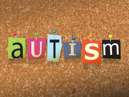 developmental disorder: The word AUTISM written in cut ransom note style paper letters and pinned to a cork bulletin board. Vector EPS 10 illustration available.