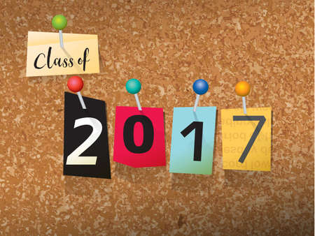 superlative: The words CLASS OF 2017 written in cut ransom note style paper letters and pinned to a cork bulletin board. Vector EPS 10 illustration available.