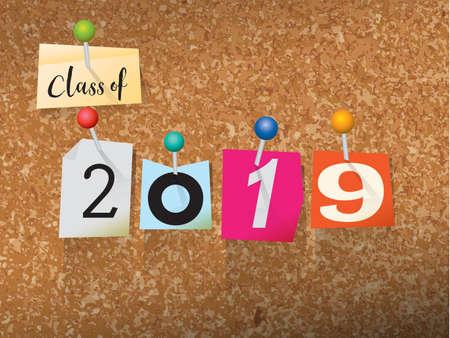 言葉で書かれた「2019年のクラス」カット身代金紙の手紙はスタイルを注意してくださいし、コルクの板に固定されています。ベクター EPS 10 の図が  イラスト・ベクター素材