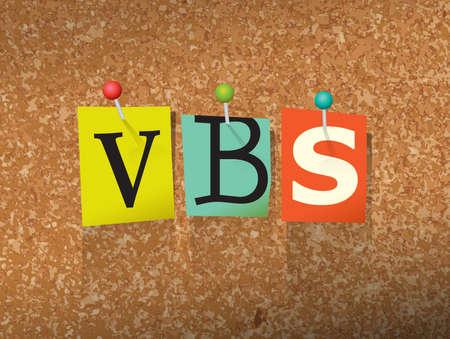 """La palabra """"VBS"""" escrito en letras de papel estilo de la nota de corte de rescate y clavado en un tablón de anuncios de corcho. Vectoriales EPS 10 ilustración disponible."""
