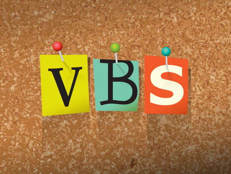 The word VBS written in cut ransom note style paper letters and pinned to a cork bulletin board. Vector EPS 10 illustration available. 向量圖像