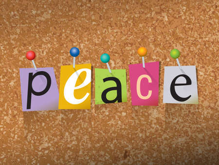 shalom: The word PEACE written in cut ransom note style paper letters and pinned to a cork bulletin board. Vector EPS 10 illustration available.
