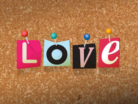 The word LOVE written in cut ransom note style paper letters and pinned to a cork bulletin board. Vector EPS 10 illustration available. Illustration