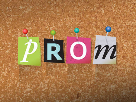 tack: The word PROM written in cut ransom note style paper letters and pinned to a cork bulletin board. Vector EPS 10 illustration available.