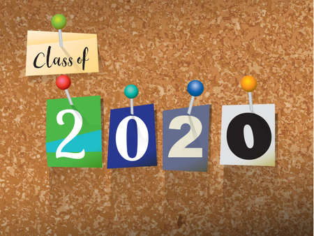 The words CLASS OF 2020 written in cut ransom note style paper letters and pinned to a cork bulletin board. Vector EPS 10 illustration available.