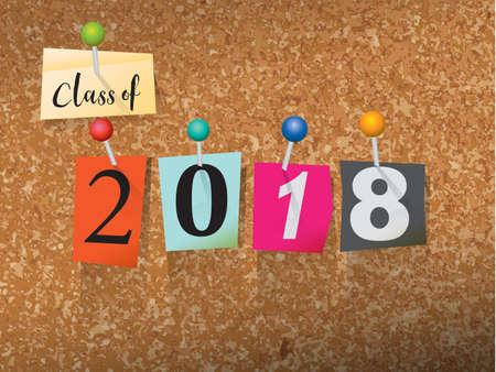 """단어 """"CLASS OF 2018""""은 몸값 스타일의 종이 글자로 쓰여지고 코르크 게시판에 고정되어 있습니다. 벡터 EPS 10 일러스트를 사용할 수 있습니다. 일러스트"""