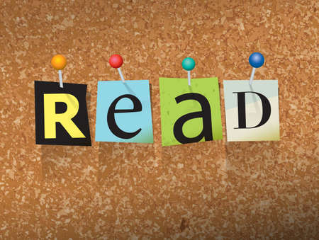 ereader: The word READ written in cut ransom note style paper letters and pinned to a cork bulletin board. Vector EPS 10 illustration available. Illustration
