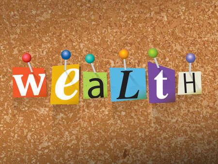単語「富」カット身代金ノート スタイル紙文字で書かれており、コルク板にピンで留めた。ベクター EPS 10 の図が利用できます。