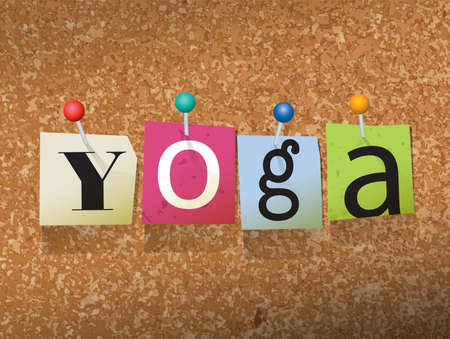 The word YOGA written in cut ransom note style paper letters and pinned to a cork bulletin board. Vector EPS 10 illustration available.