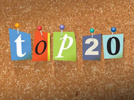"""De woorden """"TOP 20"""" geschreven in cut notastijl papieren brieven en vastgemaakt aan een kurk prikbord. Vector EPS 10 illustratie beschikbaar."""