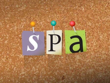 """Het woord """"SPA"""" geschreven in cut notastijl papieren brieven en vastgemaakt aan een kurk prikbord. Vector EPS 10 illustratie beschikbaar."""