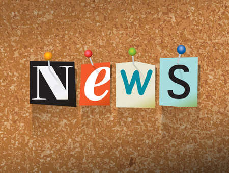 thumb tack: The word NEWS written in cut ransom note style paper letters and pinned to a cork bulletin board. Vector EPS 10 illustration available.
