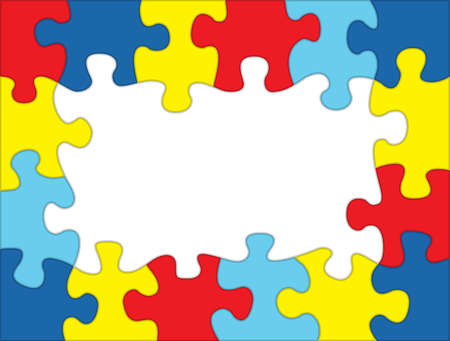 asperger syndrome: A frame made out of autism awareness colored puzzle pieces. Room for copy. Vector EPS 10 available.