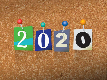 The word 2020 written in cut ransom note style paper letters and pinned to a cork bulletin board. Vector EPS 10 illustration available.