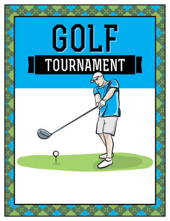 charity drive: A golf tournament flyer template illustration. Room for copy. Vector EPS 10 available. Text has been converted to outlines. EPS is layered.