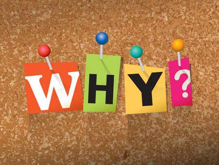 """Het woord """"waarom"""" geschreven in cut notastijl papieren brieven en vastgemaakt aan een kurk prikbord. Vector EPS 10 illustratie beschikbaar."""