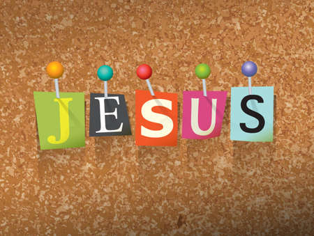 bulletin board: The name JESUS written in cut ransom note style paper letters and pinned to a cork bulletin board. Vector EPS 10 illustration available.