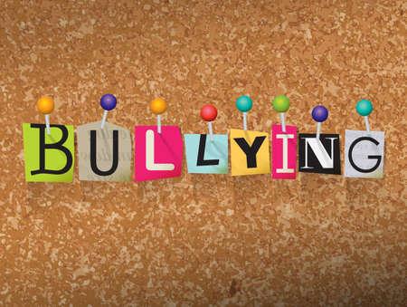 corkboard: The word BULLYING written in cut letters and pinned to a cork bulletin board illustration. Vector