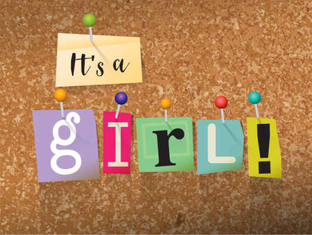 The words ITS A GIRL written in cut letters and pinned to a cork bulletin board illustration. Vector Illustration