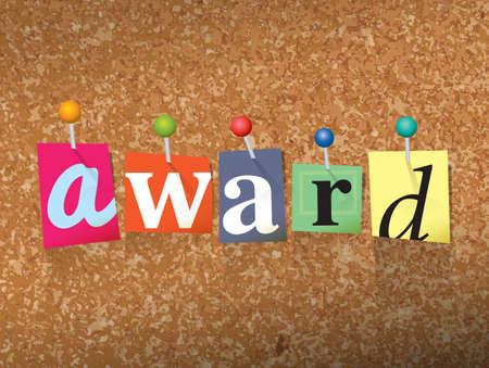 """Het woord """"Award"""" geschreven in gesneden letters en vastgemaakt aan een kurk bulletin board illustratie. Vector Stock Illustratie"""