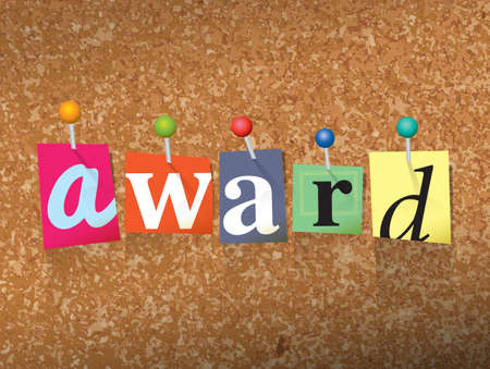 The word Award written in cut letters and pinned to a cork bulletin board illustration. Vector