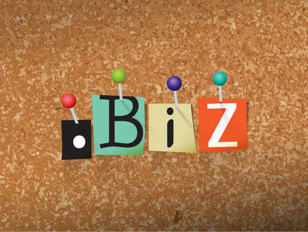 The word DOT BIZ written in cut letters and pinned to a cork bulletin board illustration. Vector Illustration