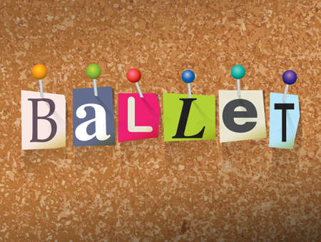 The word BALLET written in cut letters and pinned to a cork bulletin board illustration. Vector Illustration