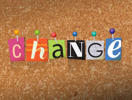 The word CHANGE written in cut letters and pinned to a cork bulletin board illustration. Vector