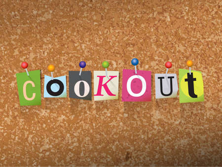 The word COOKOUT written in cut letters and pinned to a cork bulletin board illustration. Vector